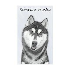 Siberian Husky (Black an Sticker (Rectangle 10 pk)