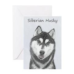 Siberian Husky (Black and White) Greeting Card