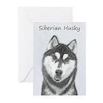 Siberian Husky (Black an Greeting Cards (Pk of 10)