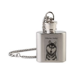 Siberian Husky (Black and White) Flask Necklace