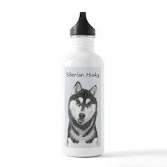 Siberian Husky (Black Water Bottle