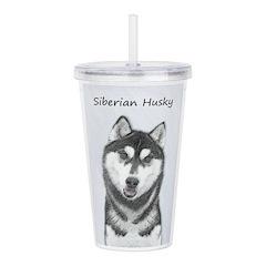 Siberian Husky (Black Acrylic Double-wall Tumbler