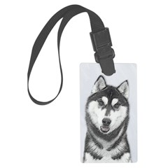 Siberian Husky (Black and White) Luggage Tag