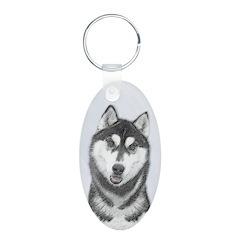 Siberian Husky (Black and W Keychains