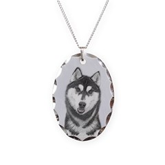 Siberian Husky (Black and Whit Necklace