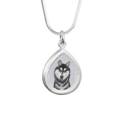 Siberian Husky (Black an Silver Teardrop Necklace