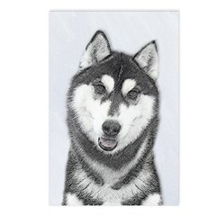 Siberian Husky (Black and Postcards (Package of 8)