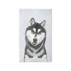 Siberian Husky (Black and White) Area Rug