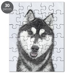 Siberian Husky (Black and White) Puzzle