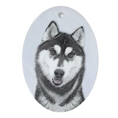 Siberian Husky (Black and White) Oval Ornament