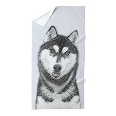 Siberian Husky (Black and White) Beach Towel