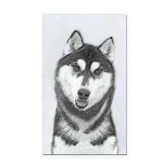 Siberian Husky (Black and Whi Rectangle Car Magnet