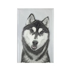 Siberian Husky (Black a Rectangle Magnet (10 pack)