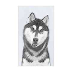 Siberian Husky (Black an Sticker (Rectangle 50 pk)