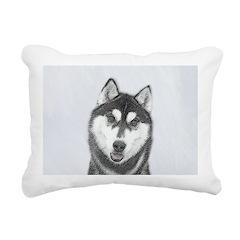 Siberian Husky (Black an Rectangular Canvas Pillow