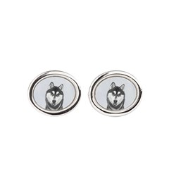 Siberian Husky (Black and White) Oval Cufflinks