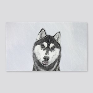 Siberian Husky (Black and White) Area Rug