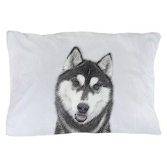 Siberian Husky (Black and White) Pillow Case