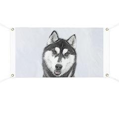 Siberian Husky (Black and White) Banner