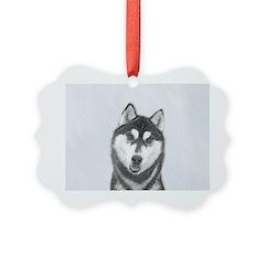 Siberian Husky (Black and White) Ornament