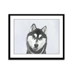 Siberian Husky (Black and White Framed Panel Print