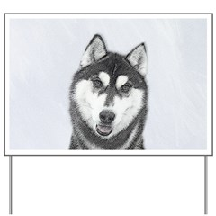 Siberian Husky (Black and White) Yard Sign
