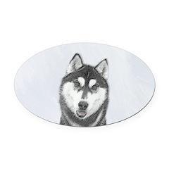Siberian Husky (Black and White) Oval Car Magnet