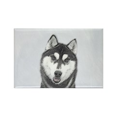 Siberian Husky (Black and White) Rectangle Magnet