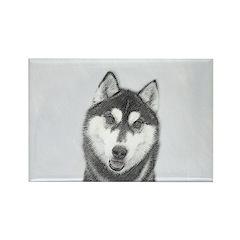 Siberian Husky (Black Rectangle Magnet (100 pack)