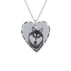 Siberian Husky (Black and Whi Necklace