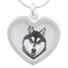 Siberian Husky (Black and Wh Silver Heart Necklace