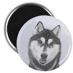 Siberian Husky (Black and White) Magnet