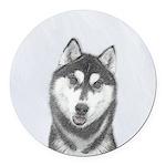 Siberian Husky (Black and White) Round Car Magnet