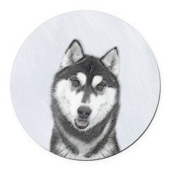 Siberian Husky (Black and White) Round Car Magnet