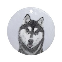 Siberian Husky (Black and White) Round Ornament