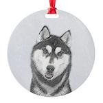 Siberian Husky (Black and White) Round Ornament