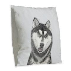 Siberian Husky (Black and Whit Burlap Throw Pillow