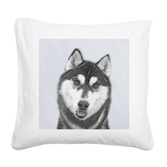 Siberian Husky (Black and Whi Square Canvas Pillow