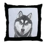 Siberian Husky (Black and White) Throw Pillow