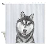 Siberian Husky (Black and White) Shower Curtain