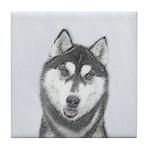 Siberian Husky (Black and White) Tile Coaster