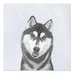 Siberian Husky (Black an Square Car Magnet 3