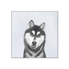 Siberian Husky (Black and W Square Sticker 3