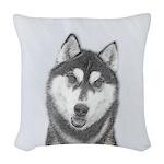 Siberian Husky (Black and Whit Woven Throw Pillow
