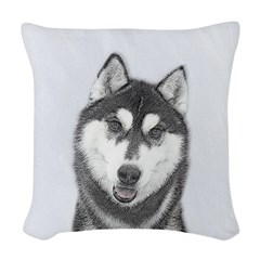 Siberian Husky (Black and Whit Woven Throw Pillow