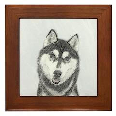Siberian Husky (Black and White) Framed Tile