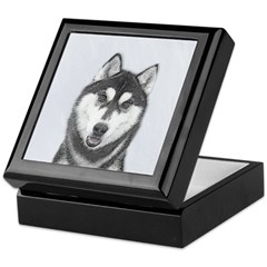 Siberian Husky (Black and White) Keepsake Box
