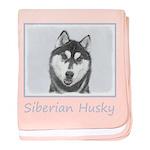 Siberian Husky (Black and White) baby blanket