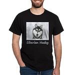 Siberian Husky (Black and White) Dark T-Shirt