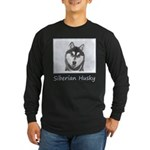 Siberian Husky (Black and Long Sleeve Dark T-Shirt